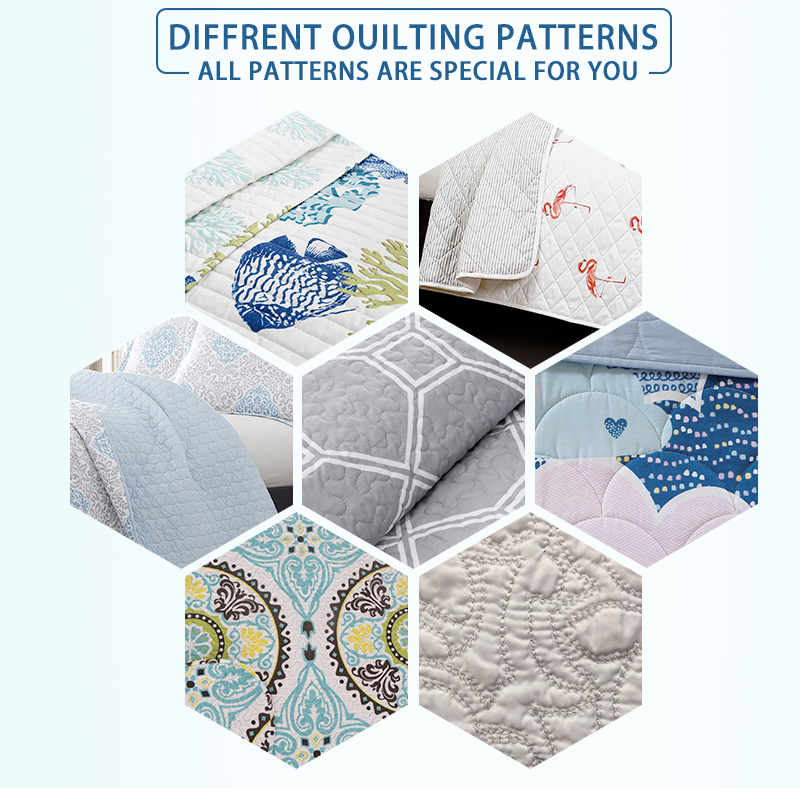 quilt set in different stitching and quilting patterns