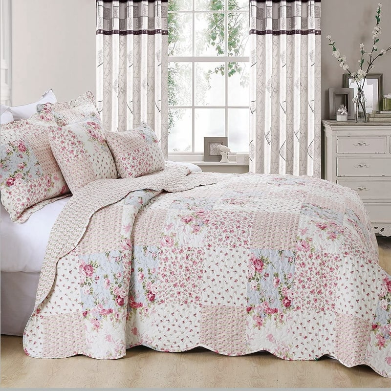 patchwork printed bedding set