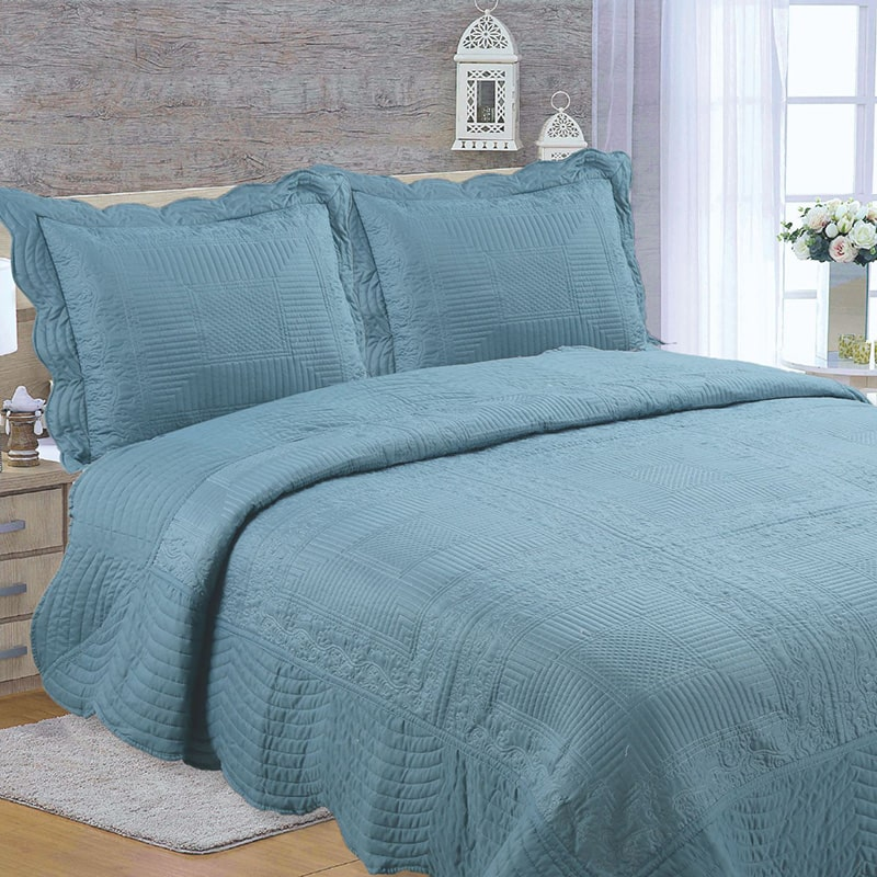 blue embroidery quilt set