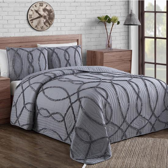 oversized queen check quilting grey bedspread