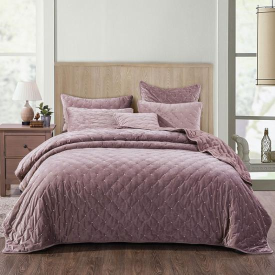 3 Piece Velvet Dot Embroidered Quilt Set