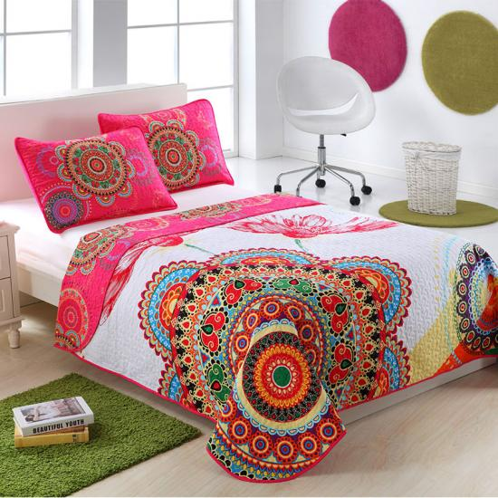 oversized panel colorful flower bedspread