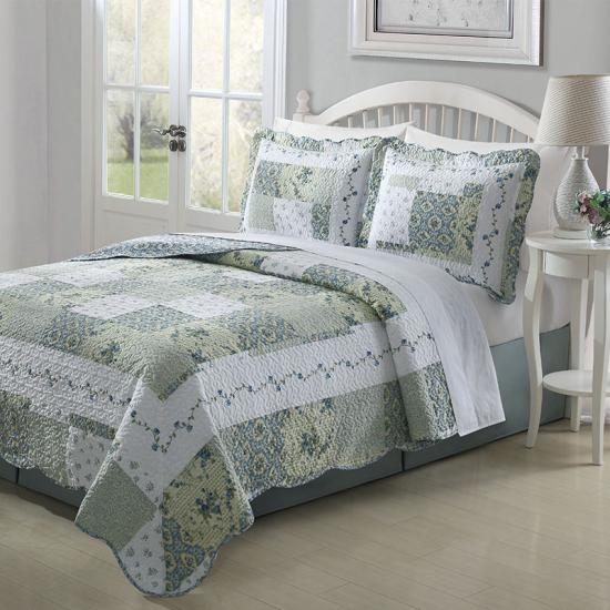 patchwork pattern quilted bedspread and coverlets