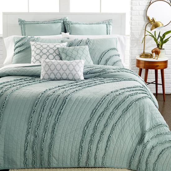ruffle coverlet set king  | ruffle quilt and shams