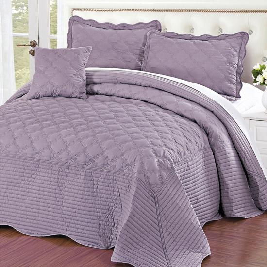 ogee embroidery 4 pc quilt set | China bedspread manufacture