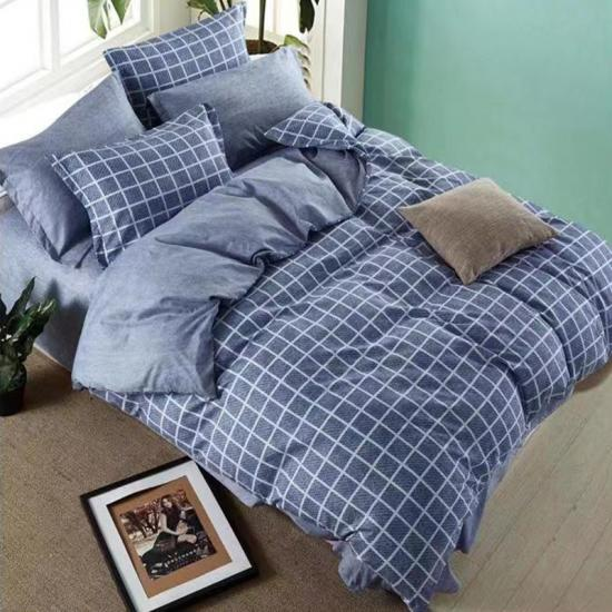 plaid printed bed sheet set