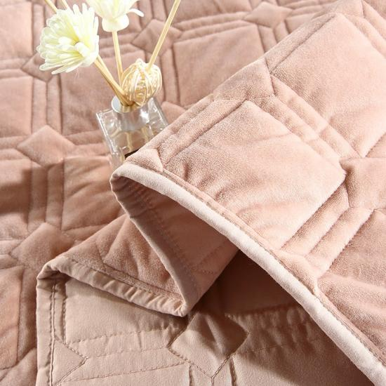 solid flannel washed embroidered quilt set